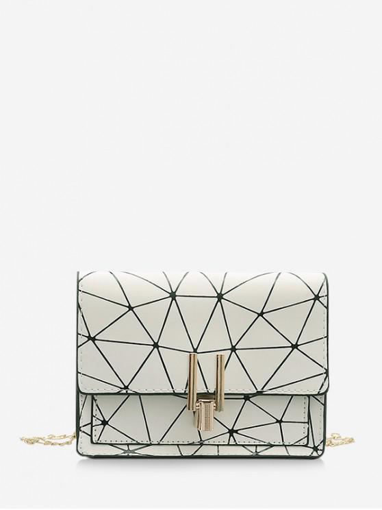 Geometric Print Flap Chain Crossbody Bag - أبيض