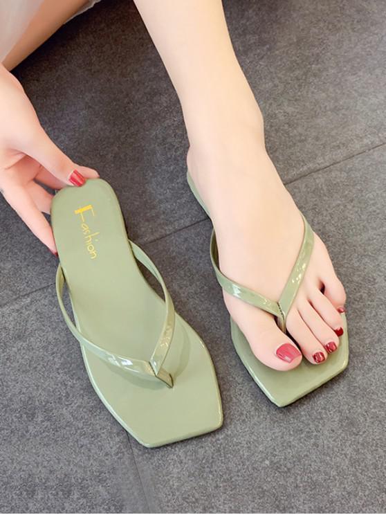 Candy Color Square Toe Leather Flip Flops - أخضر الاتحاد الأوروبي 39