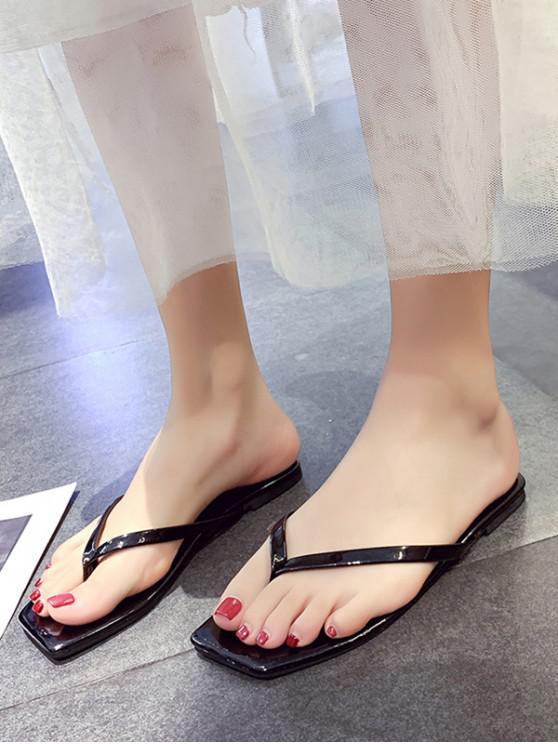 shops Candy Color Square Toe Leather Flip Flops - BLACK EU 39