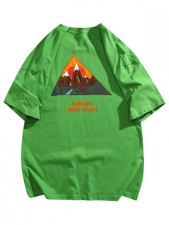 lady Mountain Graphic Pocket Patch Basic T-shirt - GREEN L