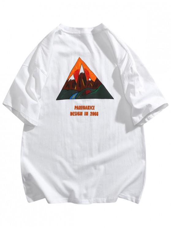 Mountain Graphic Pocket Patch Basic T-shirt - أبيض 2XL