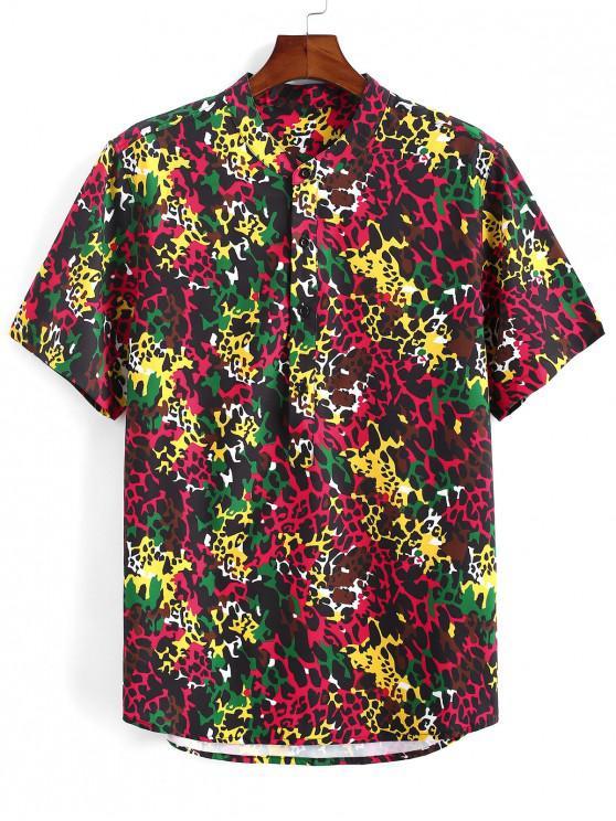 fashion Colorful Leopard Print Half Button Shirt - DEEP RED XL