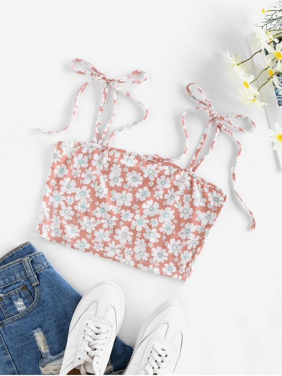 outfit ZAFUL Flower Tie Shoulder Crop Camisole - LIGHT PINK S