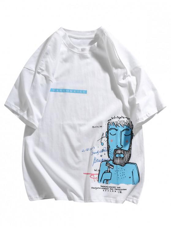 T-shirt Figure Amusant Graphique Imprimé - Blanc 2XL