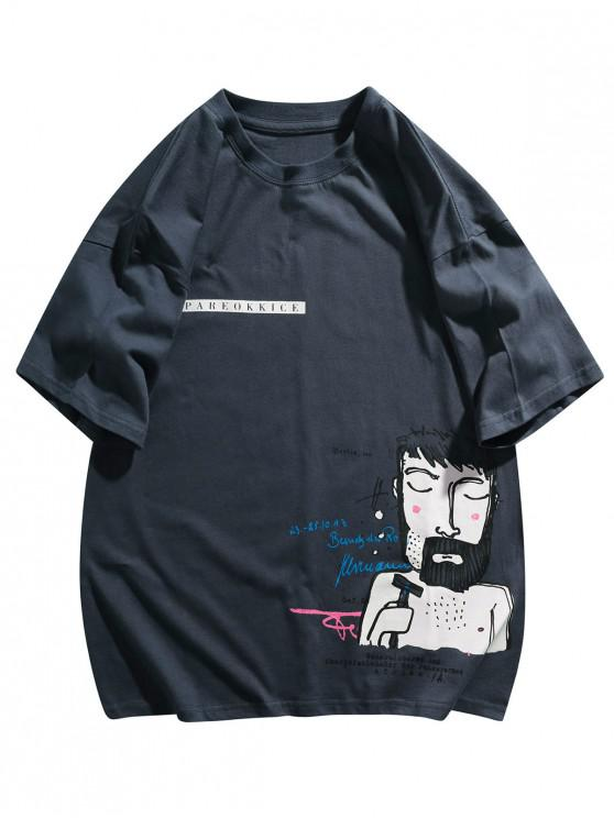 Funny Figure Graphic Print T-shirt - ازرق غامق 2XL
