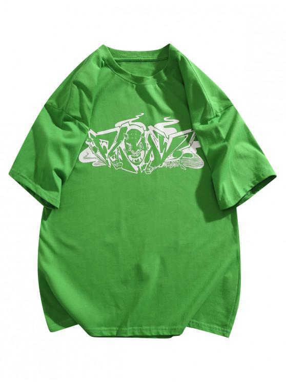 Maglietta Basic con Stampa Grafica - Verde 2XL