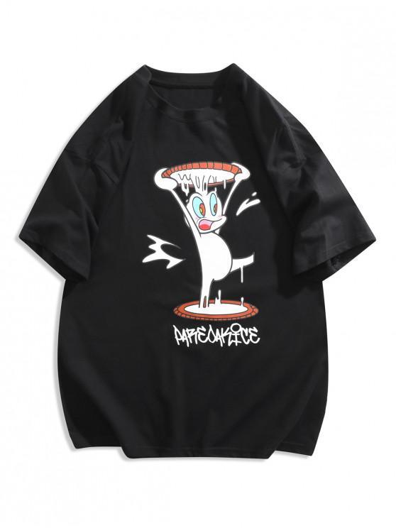 Funny Cartoon Print Graphic T-shirt - أسود 2XL