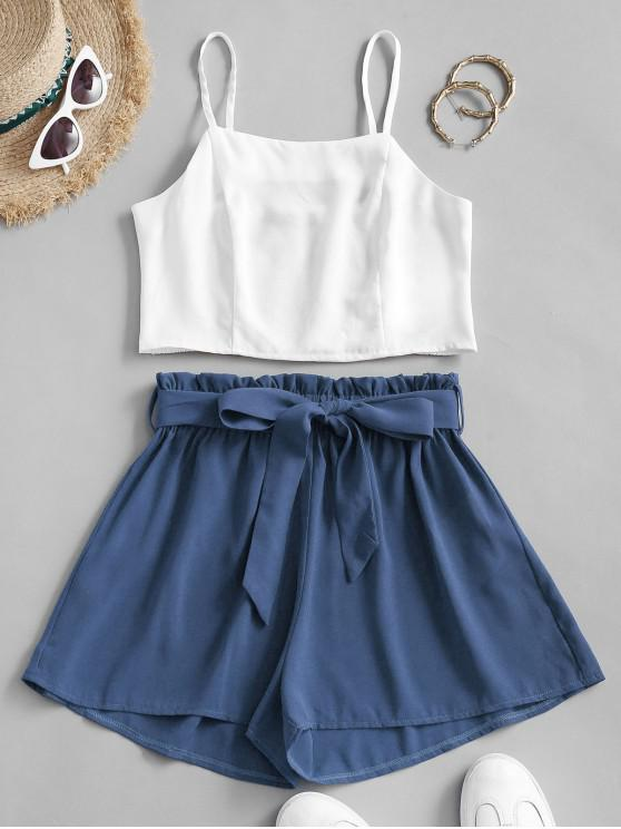 women's ZAFUL Belted Smocked Back Paperbag Shorts Set - BLUE S