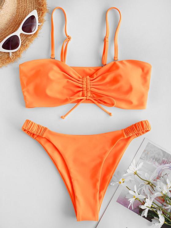 trendy ZAFUL Cinched Elastic Side High Leg Bikini Swimwear - ORANGE M