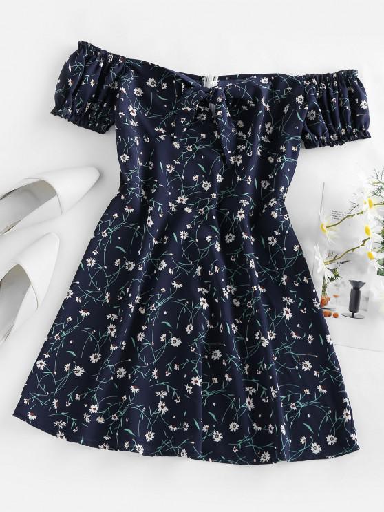 ZAFUL Mini Vestido Floral Ombro Caido com Babados - Azul Escuro S
