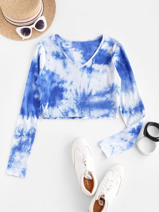 outfits ZAFUL Ribbed Tie Dye Cropped Tee - BLUE XL