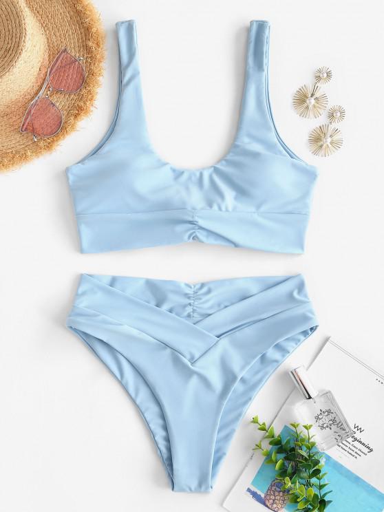 trendy ZAFUL Back Knot Surplice Waist Ruched Tankini Swimwear - LIGHT BLUE S