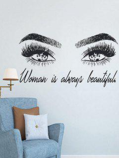 Beautiful Eyes Pattern Removable Wall Stickers - 黒 77x42cm