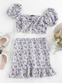 ZAFUL Floral Polka Dot Smocked Twisted Mermaid Skirt Set - Light Purple L