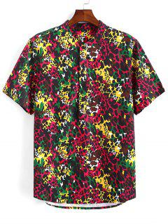 Colorful Leopard Print Half Button Shirt - Deep Red S