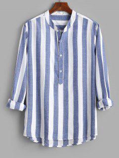 Color Blocking Stripes Half Button Shirt - Blue M