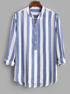 Color Blocking Stripes Half Button Shirt - Blue L