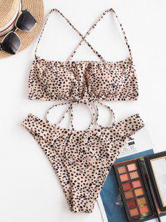 ZAFUL Leopard Criss Cross Drawstring Bikini Swimwear - Light Coffee S