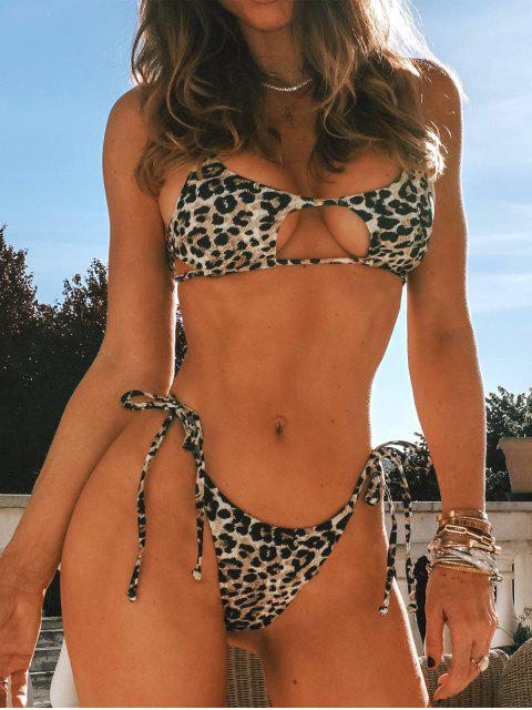 outfit ZAFUL Tie Side Cutout Leopard Bikini Swimsuit - LEOPARD L Mobile