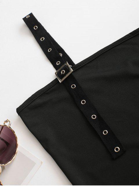 chic Solid Grommet Buckled Straps Bodysuit - BLACK M Mobile