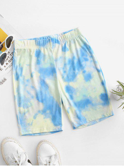sale High Waisted Tie Dye Cycling Shorts - LIGHT BLUE L Mobile