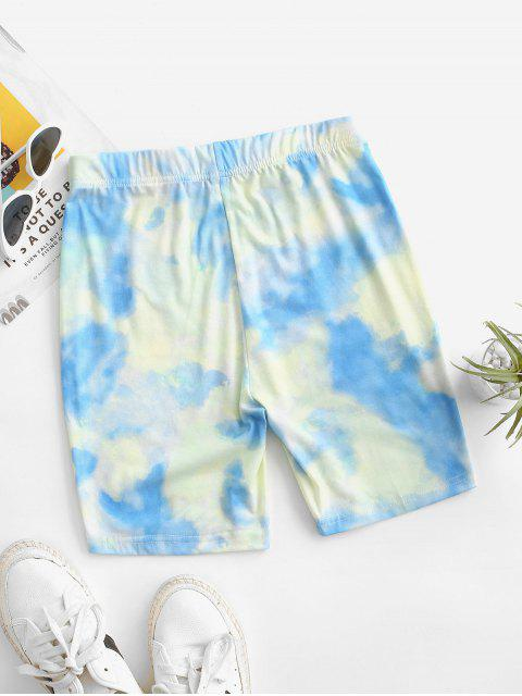 online High Waisted Tie Dye Cycling Shorts - LIGHT BLUE M Mobile