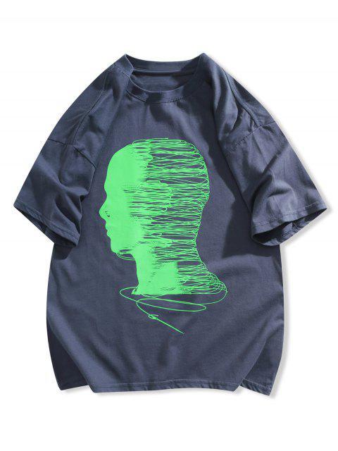 T-shirt de Manga Curta de Impressão Gráfica - Azul Escuro M Mobile