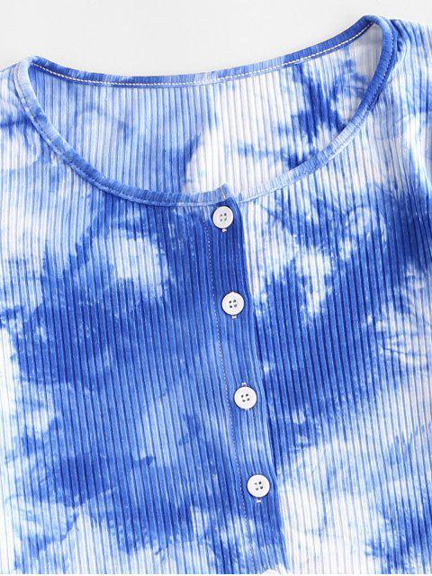 ZAFUL Geripptes Knopf Krawattenfärbender T-Shirt - Blau S Mobile