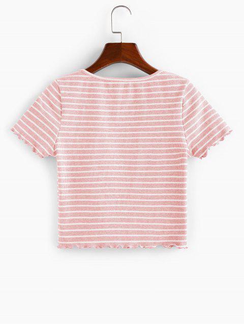 ZAFUL Geripptes T-Shirt mit V Ausschnitt - Hell-Pink M Mobile