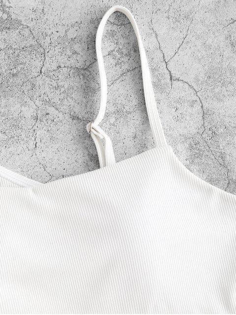 ZAFUL Haut de Maillot de Bain Côtelé Matelassé Anneau en O à Col Oblique - Blanc M Mobile