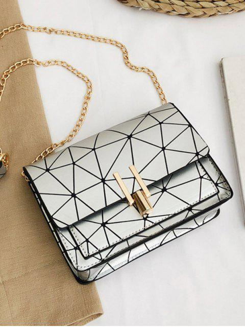 ladies Geometric Print Flap Chain Crossbody Bag - SILVER  Mobile