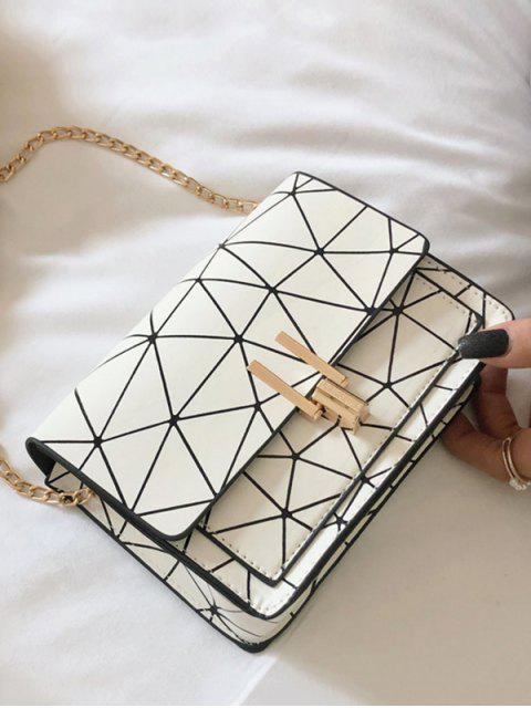 Geometric Print Flap Chain Crossbody Bag - أبيض  Mobile