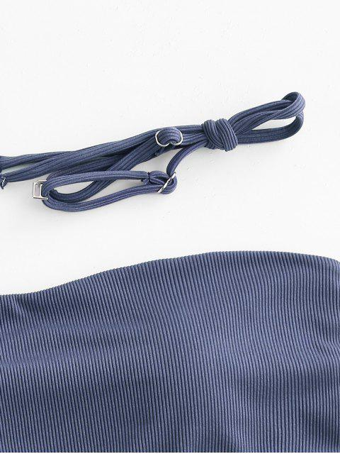 Costume da Bagno Bikini a Fascia a Costine di ZAFUL - Profondo blu S Mobile