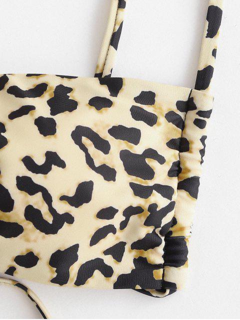 latest ZAFUL Leopard Print Padded String Bikini Swimwear - LIGHT COFFEE S Mobile