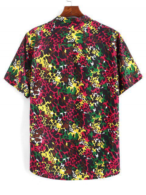 shops Colorful Leopard Print Half Button Shirt - DEEP RED S Mobile
