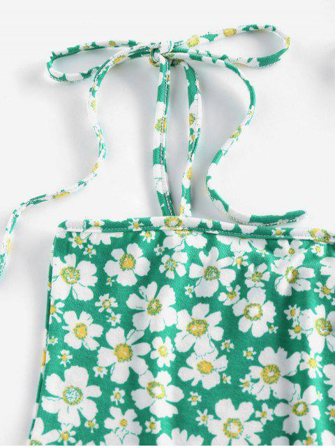 ZAFUL Camisole Courte Fleur à Epaule Nouée - Vert clair M Mobile