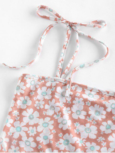 ZAFUL Camisole Courte Fleur à Epaule Nouée - Rose Léger  L Mobile