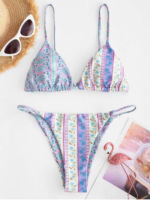 unique ZAFUL Bohemian Printed Tanga String Bikini Swimwear - MULTI-A L Mobile