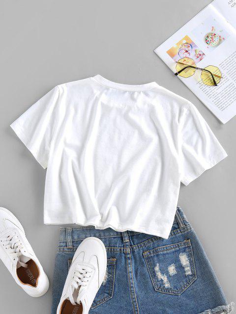 T-Shirt Corta Grafica a Banana di ZAFUL - Bianca S Mobile