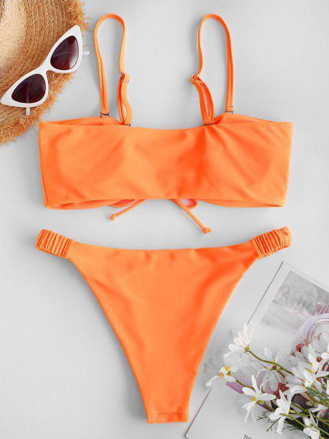 ZAFUL Geschnürte Elastische Seite Bikini Badebekleidung mit Hohem Bein - Orange M Mobile