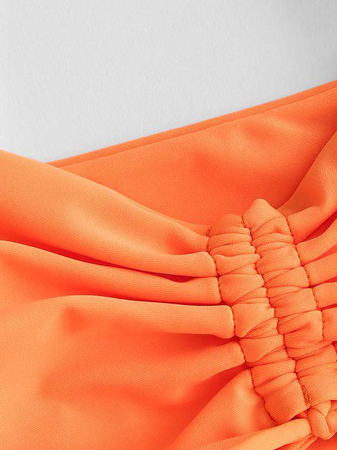 ZAFUL Maillot de Bain Bikini Elastique à Jambe Haute à Lacets - Orange L Mobile