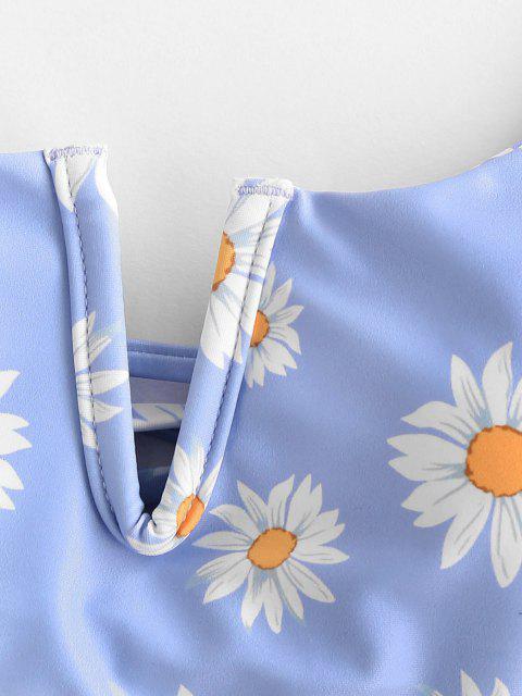 women's ZAFUL Daisy Print V Wired Lace Up Bikini Swimwear - LIGHT BLUE S Mobile