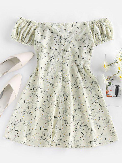 outfits ZAFUL Floral Tied Ruffle Off Shoulder Mini Dress - WHITE S Mobile