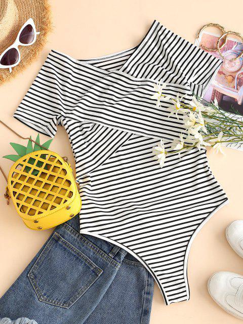 chic Striped Criss Cross Off Shoulder Bodysuit - WHITE M Mobile