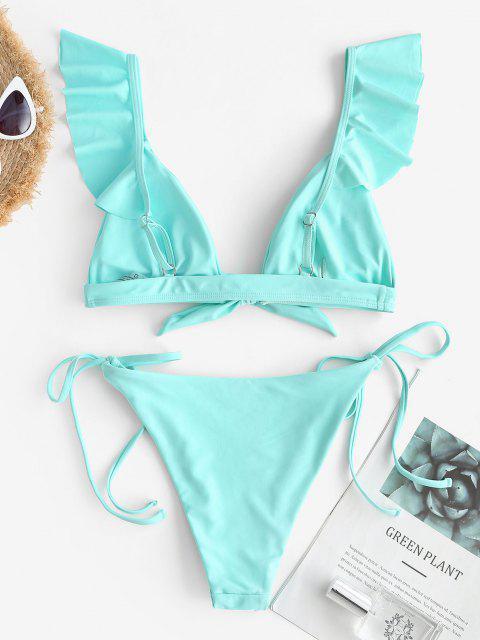 outfit ZAFUL Ruffle Tie Front High Leg Bikini Swimwear - LIGHT BLUE S Mobile