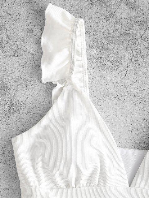 women ZAFUL Ribbed Ruffle Plunging Bikini Top - WHITE S Mobile