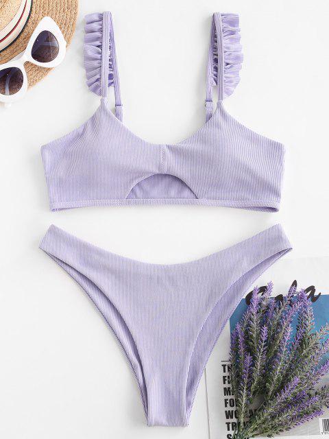 womens ZAFUL Ribbed Ruffle Cutout Tank Bikini Swimwear - LIGHT PURPLE L Mobile