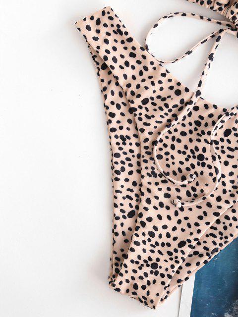 Bikini de Criss Cross con Cordón de Leopardo ZAFUL - café luz S Mobile