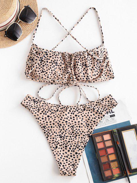 Bikini de Criss Cross con Cordón de Leopardo ZAFUL - café luz L Mobile