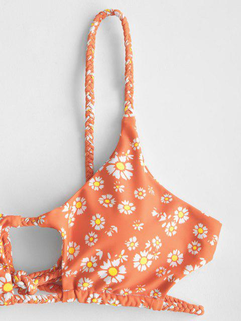 shop ZAFUL Ditsy Print Braided Cutout Bikini Swimwear - ORANGE M Mobile